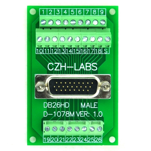 CZH-LABS D-SUB DB26HD Male Header Breakout Board, DSUB.