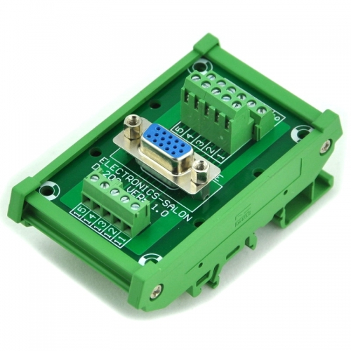 ELECTRONICS-SALON DIN Rail Mount D-SUB DB15HD Female Header Interface Module, DSUB Breakout Board.