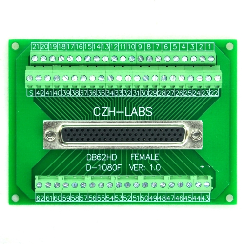 CZH-LABS D-SUB DB62HD Female Header Breakout Board, DSUB.