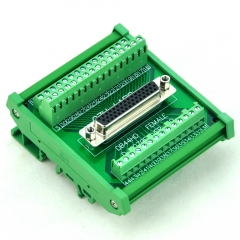 CZH-LABS DIN Rail Mount D-SUB DB44HD Female Header Interface Module, DSUB Breakout Board.