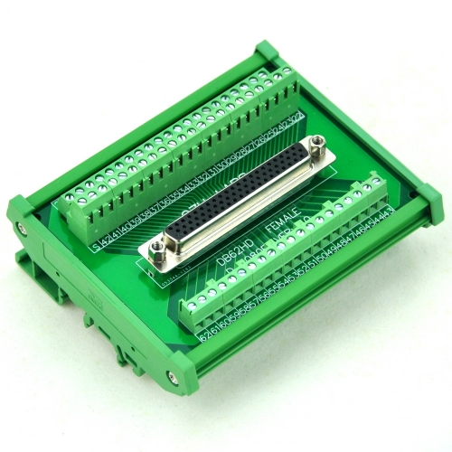 CZH-LABS DIN Rail Mount D-SUB DB62HD Female Header Interface Module, DSUB Breakout Board.