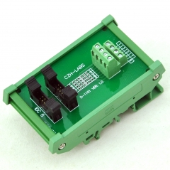 CZH-LABS DIN Rail Mount Dual IDC-8 Pitch 2.0mm Male Header Interface Module, Breakout Board.
