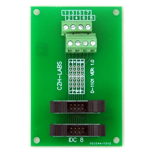 CZH-LABS Dual IDC-8 Pitch 2.0mm Male Header Terminal Block Breakout Board.