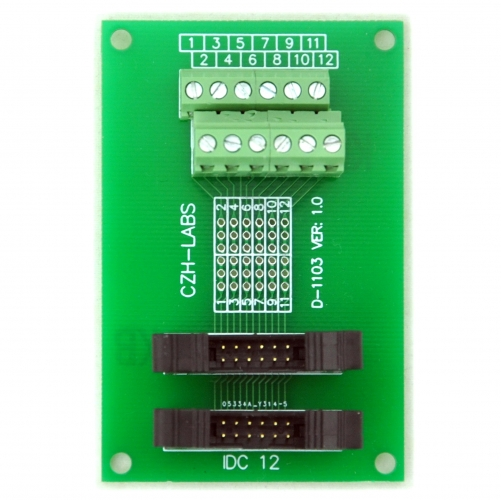 CZH-LABS Dual IDC-12 Pitch 2.0mm Male Header Terminal Block Breakout Board.