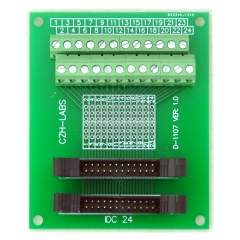 CZH-LABS Dual IDC-24 Pitch 2.0mm Male Header Terminal Block Breakout Board.