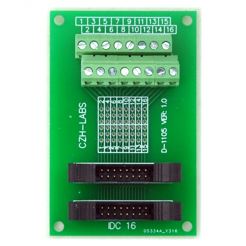 CZH-LABS Dual IDC-16 Pitch 2.0mm Male Header Terminal Block Breakout Board.
