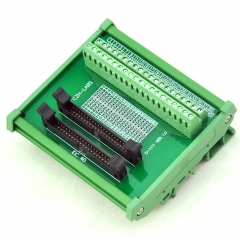 CZH-LABS DIN Rail Mount Dual IDC-40 Pitch 2.0mm Male Header Interface Module, Breakout Board.