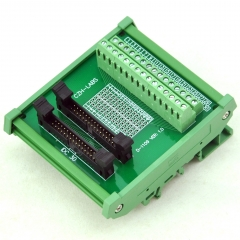 CZH-LABS DIN Rail Mount Dual IDC-30 Pitch 2.0mm Male Header Interface Module, Breakout Board.