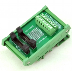 CZH-LABS DIN Rail Mount Dual IDC-16 Pitch 2.0mm Male Header Interface Module, Breakout Board.