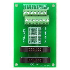 CZH-LABS Dual IDC-14 Pitch 2.0mm Male Header Terminal Block Breakout Board.