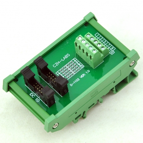 CZH-LABS DIN Rail Mount Dual IDC-10 Pitch 2.0mm Male Header Interface Module, Breakout Board.