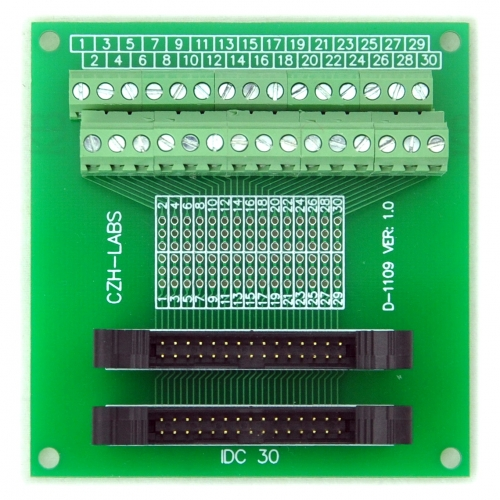 CZH-LABS Dual IDC-30 Pitch 2.0mm Male Header Terminal Block Breakout Board.