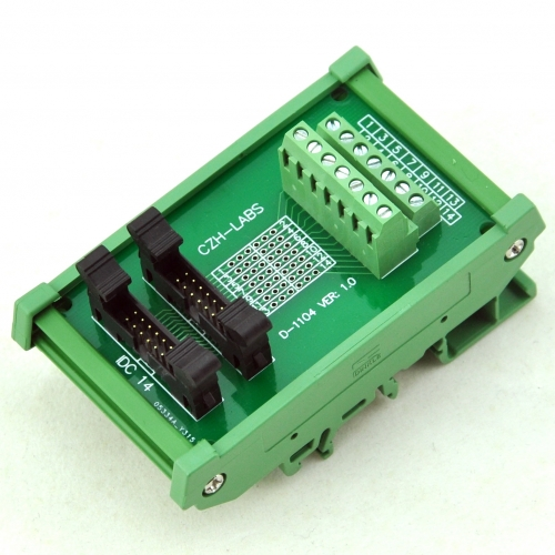 CZH-LABS DIN Rail Mount Dual IDC-14 Pitch 2.0mm Male Header Interface Module, Breakout Board.