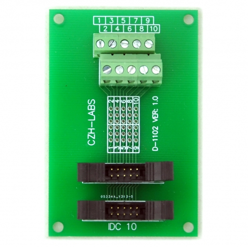 CZH-LABS Dual IDC-10 Pitch 2.0mm Male Header Terminal Block Breakout Board.