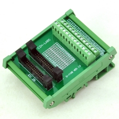 CZH-LABS DIN Rail Mount Dual IDC-26 Pitch 2.0mm Male Header Interface Module, Breakout Board.