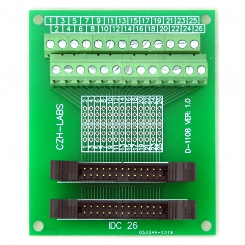 CZH-LABS Dual IDC-26 Pitch 2.0mm Male Header Terminal Block Breakout Board.