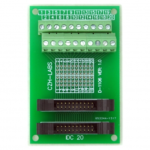 CZH-LABS Dual IDC-20 Pitch 2.0mm Male Header Terminal Block Breakout Board.