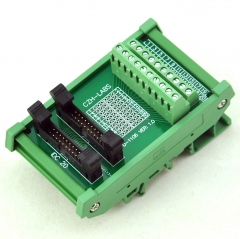 CZH-LABS DIN Rail Mount Dual IDC-20 Pitch 2.0mm Male Header Interface Module, Breakout Board.