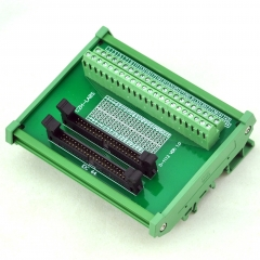 CZH-LABS DIN Rail Mount Dual IDC-44 Pitch 2.0mm Male Header Interface Module, Breakout Board.