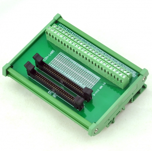 CZH-LABS DIN Rail Mount Dual IDC-50 Pitch 2.0mm Male Header Interface Module, Breakout Board.
