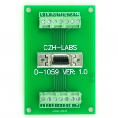 "CZH-LABS 14-pin 0.05"" Mini D Ribbon/MDR Female Breakout Board, SCSI, Terminal Module."