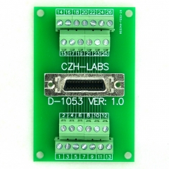 "CZH-LABS 26-pin 0.05"" Mini D Ribbon/MDR Female Breakout Board, SCSI, Terminal Module."