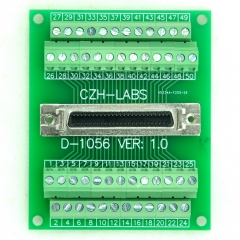 "CZH-LABS 50-pin 0.05"" Mini D Ribbon/MDR Female Breakout Board, SCSI, Terminal Module."