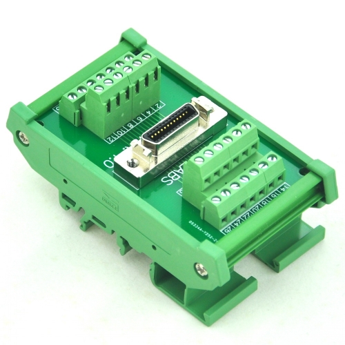 "CZH-LABS DIN Rail Mount 26-pin 0.05"" Mini D Ribbon/MDR Female Interface Module, SCSI."