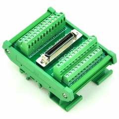 "CZH-LABS DIN Rail Mount 50-pin 0.05"" Mini D Ribbon/MDR Female Interface Module, SCSI."