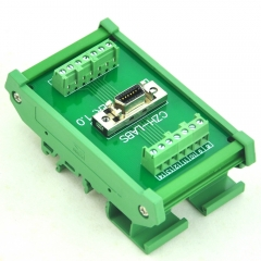"CZH-LABS DIN Rail Mount 14-pin 0.05"" Mini D Ribbon/MDR Female Interface Module, SCSI."