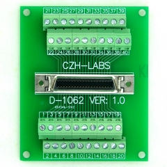 "CZH-LABS 40-pin 0.05"" Mini D Ribbon/MDR Female Breakout Board, SCSI, Terminal Module."