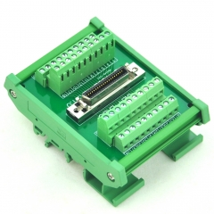 "CZH-LABS DIN Rail Mount 40-pin 0.05"" Mini D Ribbon/MDR Female Interface Module, SCSI."