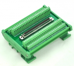 "CZH-LABS DIN Rail Mount 100-pin 0.05"" Mini D Ribbon/MDR Female Interface Module, SCSI."