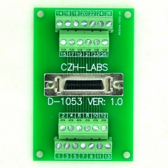 "CZH-LABS 26-pin Half-Pitch/0.05"" D-SUB Female Breakout Board, DSUB, SCSI, Terminal Module."