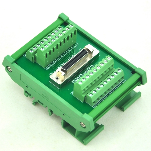"CZH-LABS DIN Rail Mount 36-pin Half-Pitch/0.05"" D-SUB Female Interface Module, DSUB, SCSI."