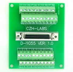 "CZH-LABS 40-pin Half-Pitch/0.05"" D-SUB Female Breakout Board, DSUB, SCSI, Terminal Module."