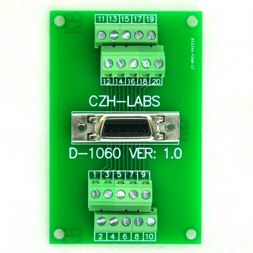 "CZH-LABS 20-pin 0.05"" Mini D Ribbon/MDR Female Breakout Board, SCSI, Terminal Module."