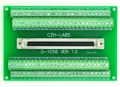 "CZH-LABS 100-pin Half-Pitch/0.05"" D-SUB Female Breakout Board, DSUB,SCSI,Terminal Module."