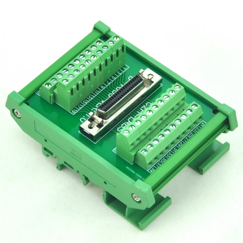 "CZH-LABS DIN Rail Mount 40-pin Half-Pitch/0.05"" D-SUB Female Interface Module, DSUB, SCSI."