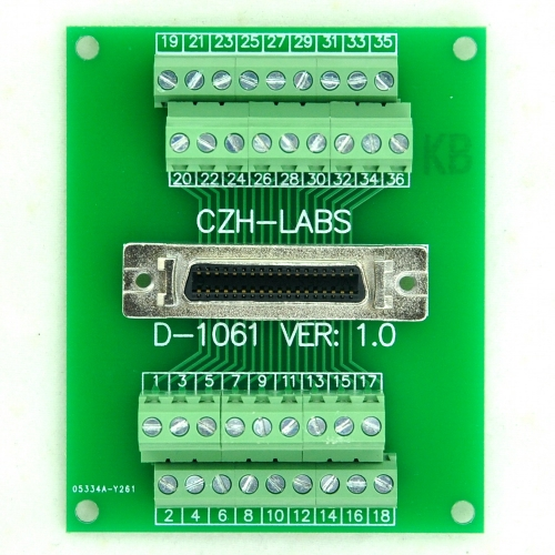 "CZH-LABS 36-pin 0.05"" Mini D Ribbon/MDR Female Breakout Board, SCSI, Terminal Module."