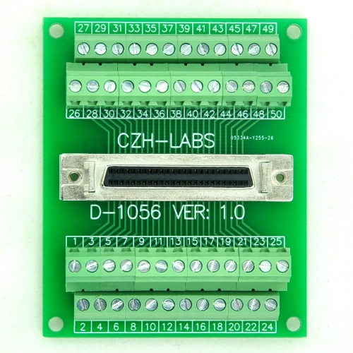 "CZH-LABS 50-pin Half-Pitch/0.05"" D-SUB Female Breakout Board, DSUB, SCSI, Terminal Module."