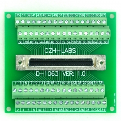 "CZH-LABS 68-pin 0.05"" Mini D Ribbon/MDR Female Breakout Board, SCSI, Terminal Module."