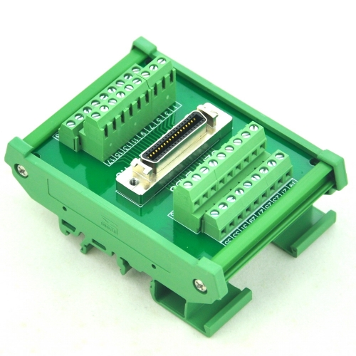 "CZH-LABS DIN Rail Mount 36-pin 0.05"" Mini D Ribbon/MDR Female Interface Module, SCSI."
