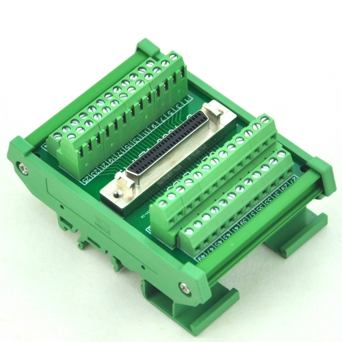 "CZH-LABS DIN Rail Mount 50-pin Half-Pitch/0.05"" D-SUB Female Interface Module, DSUB, SCSI."