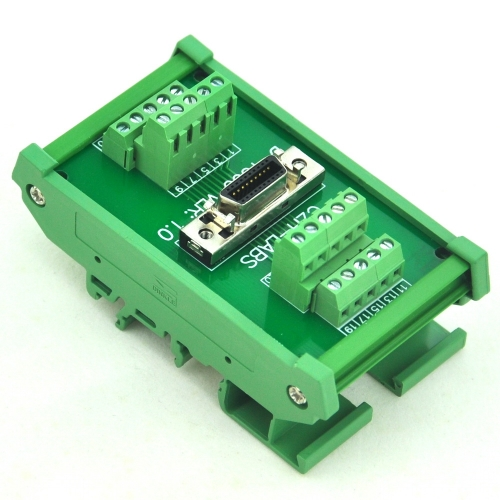"CZH-LABS DIN Rail Mount 20-pin 0.05"" Mini D Ribbon/MDR Female Interface Module, SCSI."