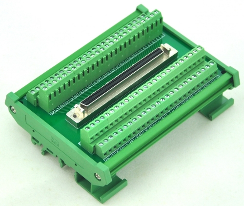 "CZH-LABS DIN Rail Mount 100-pin Half-Pitch/0.05"" D-SUB Female Interface Module, DSUB,SCSI."