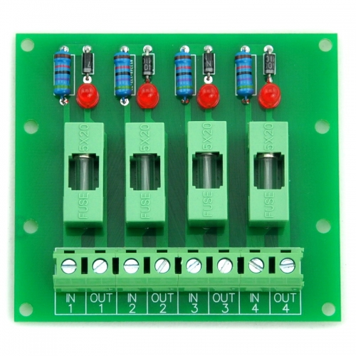 Electronics-Salon 5~48VDC 4 Channel Fuse Board, with Fuse Fail Indication.