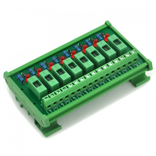 Electronics-Salon DIN Rail Mount 5~48VDC 8 Channel Fuse Interface Module, with Fuse Fail Indication.
