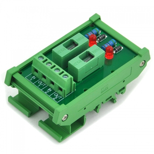 ELECTRONICS-SALON DIN Rail Mount 5~48VDC 2 Channel Fuse Interface Module, with Fuse Fail Indication.