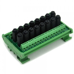 Electronics-Salon 16 Channel Fuse Interface Module, Din Rail Mount, for 5x20mm Tube Fuse.